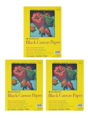 Strathmore 300 Series Black Canvas Paper 9 in. x 12 in. 10 sheets [Pack of 3](PK3-310-209)