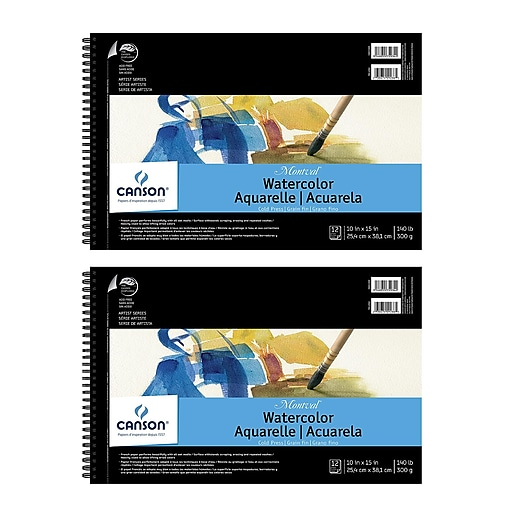 Canson Montval Watercolor Paper 10 in. x 15 in. pad of 12 wire bound 140 lb. cold press [Pack of 2](PK2-100511059)