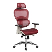 Techni Mobili Deluxe High Back Mesh Office Executive Chair with Neck Support, Red (RTA-5003-RED)