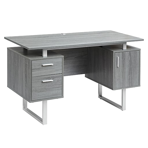Techni Mobili Modern Office Desk With Storage Gray Rta 7002 Gry