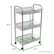 Mind Reader AMESH3T-SIL 3 Tier Mobile Office Cart, Silver