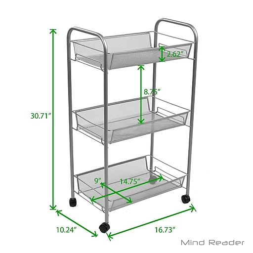 e85c0647c14f Mind Reader AMESH3T-SIL 3 Tier Mobile Office Cart, Silver