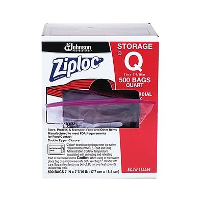 Ziploc® 1 Quart Double Zipper Storage Bags Commercial 500 CT