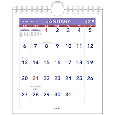 At A Glance 174 Mini Monthly Wall Calendar 12 Months