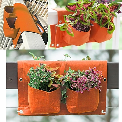 BloemBagz Deck Rail 4-Pocket Hanging Planter Bag , Tequila Sunrise (OTR2-20)
