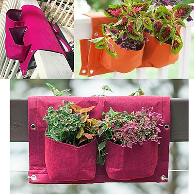 BloemBagz Deck Rail 4-Pocket Hanging Planter Bag , Amaranth (OTR2-22)