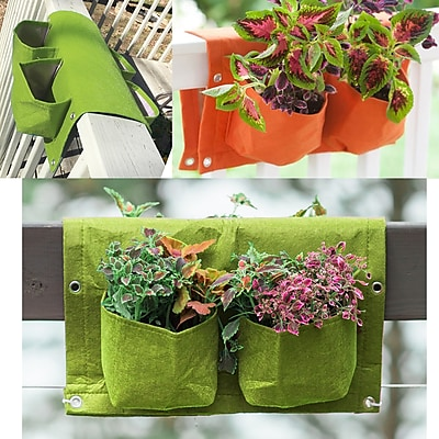 BloemBagz Deck Rail 4-Pocket Hanging Planter Bag , Honey Dew (OTR2-25)