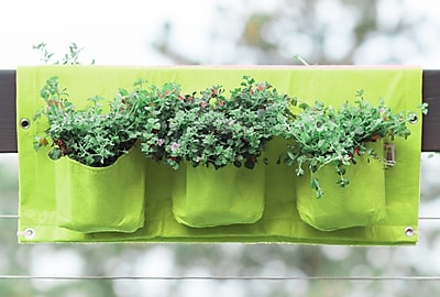 BloemBagz Deck Rail 6-Pocket Hanging Planter Bag, Honey Dew (OTR3-25)