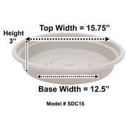 "Bloem Dura Cotta Plant Saucer Tray, 16"", Taupe (SDC16-35)"