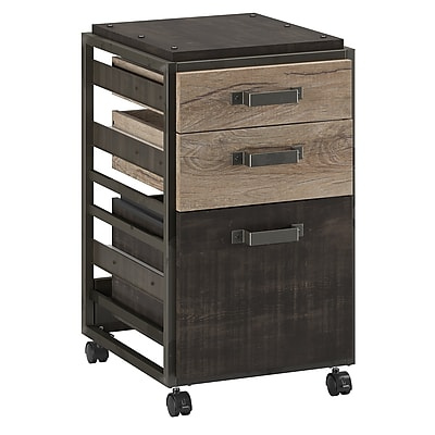 Bush Furniture Refinery 3 Drawer Mobile File Cabinet, Rustic Gray (RFF116RG-03)