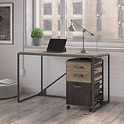 Bush Furniture Refinery 50W Industrial Desk with 3 Drawer Mobile File Cabinet, Rustic Gray (RFY006RG)