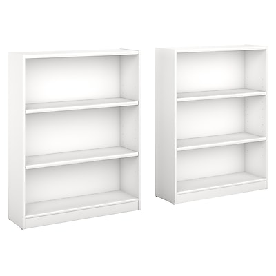 Bush Furniture Universal 3 Shelf Bookcase, Pure White, Set of 2 (UB002PW)