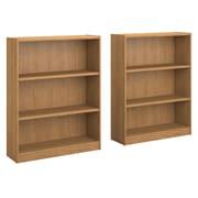 Bush Furniture Universal 3 Shelf Bookcase, Snow Maple, Set of 2 (UB002SM)
