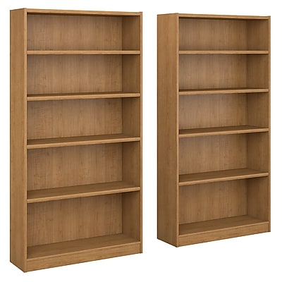 Bush Furniture Universal 5 Shelf Bookcase, Snow Maple, Set of 2 (UB003SM)