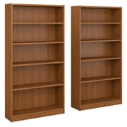 Bush Furniture Universal 5 Shelf Bookcase, Royal Oak, Set of 2 (UB003RO)