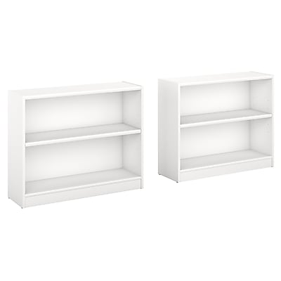 Bush Furniture Universal 2 Shelf Bookcase, Pure White, Set of 2 (UB001PW)