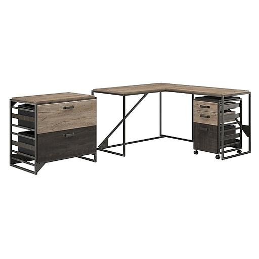 bush furniture refinery 50w l shaped industrial desk with 37w return and file cabinets rustic. Black Bedroom Furniture Sets. Home Design Ideas