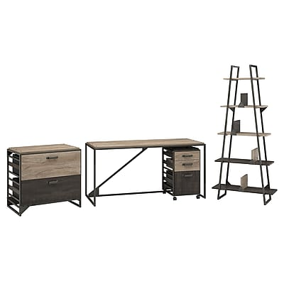 Bush Furniture Refinery 62W Industrial Desk with A Frame Bookshelf and File Cabinets, Rustic Gray (RFY007RG)