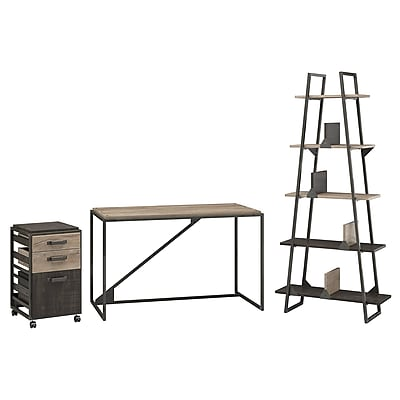 Bush Furniture Refinery 50W Industrial Desk with A Frame Bookshelf and Mobile File Cabinet, Rustic Gray (RFY008RG)