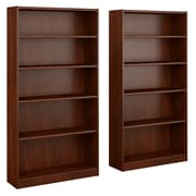 Bush Furniture Universal 5 Shelf Bookcase, Hansen Cherry, Set of 2 (UB003HC)