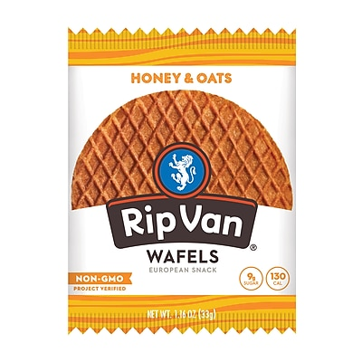 Rip Van Wafels® Non-GMO European Snack, Honey and Oats, 12/Pack (RVW00336)
