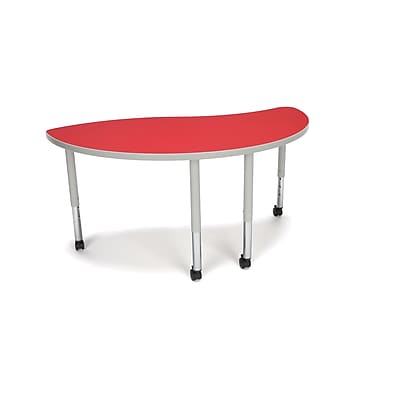 """OFM Ying Adapt Series 54""""W x 30""""D Student Height Adjustable Table with Casters, Red (YING-SLC-RED)"""