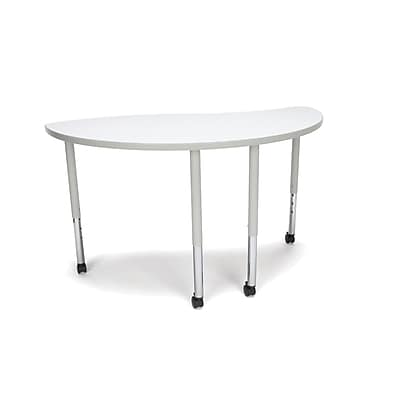 "OFM Ying Adapt Series 54""W x 30""D Standard Height Adjustable Table with Casters, White (YING-LLC-WHT)"