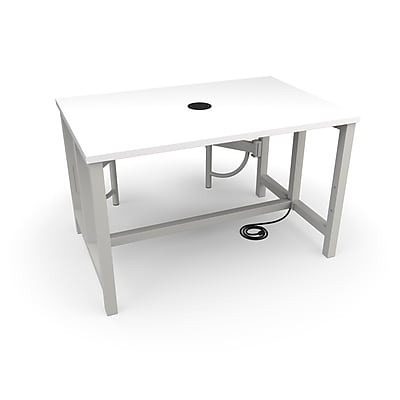 "OFM 48"" Laminate Endure Series Standard Height Table with 2 Seats, White (9294-2S-MPL-WHT)"