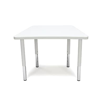 "OFM Trapezoid Adapt Series 32.50""W x 19.50""D Student Height Adjustable Table, White (TRAP-SL-WHT)"