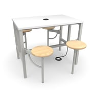 """OFM 48"""" Laminate Endure Series Standing Height Table with 4 Seats, White (9004-MPL-WHT)"""