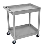 Offex Large Tub Utility Cart with Two Shelves, Gray Shelves/Gray Legs (OF-TC11-G)