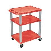 "Offex 34""H Tuffy AV Cart with 3 Shelf, Electric, Red Shelves/Nickel Legs (OF-WT34RE-N)"