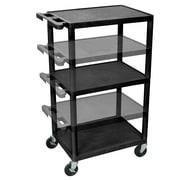 Offex Multi-Height Tuffy AV Cart with Three Shelves, Black (OF-LPDUO-B)