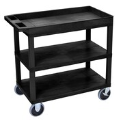 "Offex 18"" x 32"" Top Tub and Two Flat Shelves Heavy Duty Cart, Black (OF-EC122HD-B)"