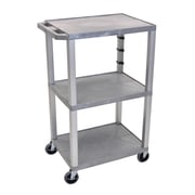 "Offex 42"" Tuffy A/V Cart with 3 Shelf, Electric, Gray/Nickel Leg (OF-WT42GYE-N)"