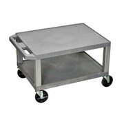"Offex 16"" Two Shelves AV Cart Nickel Legs, Gray (OF-WT16GY-N)"