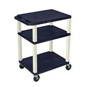 "Offex 34""H Tuffy AV Cart with 3 Shelf, Electric, Navy Shelves/Putty Legs (OF-WT34ZE)"
