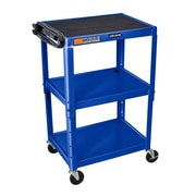 Offex Adjustable-Height Steel AV Cart with Three Shelves, Blue (OF-AVJ42-RB)