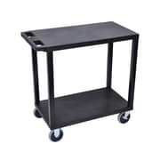 """Offex 18"""" x 32"""" Two Flat Shelves Heavy Duty Cart, Black (OF-EC22HD-B)"""