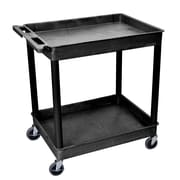 Offex Large Tub Utility Cart with Two Shelves, Black Shelves/Black Legs (OF-TC11-B)