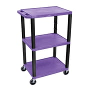 "Offex 42""H Tuffy AV Cart, 3 Shelf, Electric, Purple Shelves/Black Legs (OF-WT42PE-B)"