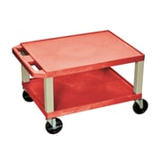"""Offex 16""""H Tuffy AV Cart with Two Shelves, Red Shelves/Putty Legs (OF-WT16R)"""