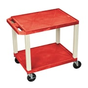 """Offex 26""""H Tuffy AV Cart with 2 Shelf, Electric, Red Shelves/Putty Legs (OF-WT26RE)"""