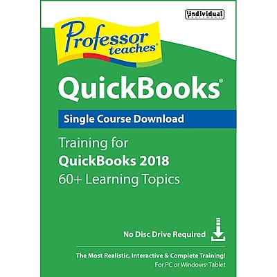 Individual Software Professor Teaches QuickBooks 2018 for Windows, 1 User, Download (2UKDYK3QZKJFU8A)