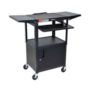 Offex Adjustable Height Steel AV Cart with Pullout Keyboard Tray, Cabinet, Drop Leaf, Black (OF-AVJ42KBCDL)
