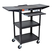 Offex Adjustable Height Steel AV Cart with Front Pullout Keyboard Tray, Drop Leaf, Black (OF-AVJ42KBDL)