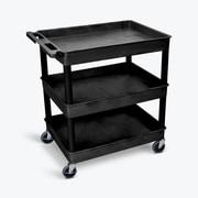 Offex Large Three Shelves Tub Utility Cart, Black (OF-TC111-B)