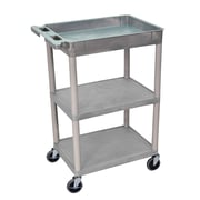 Offex Top Tub and Flat Middle/Bottom Shelf Utility Cart, Gray (OF-STC122-G)