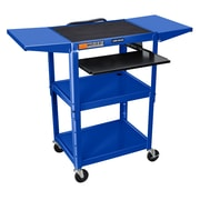 Offex Adjustable-Height Steel AV Cart with Front Pullout Keyboard Tray, Drop Leaf, Blue (OF-AVJ42KBDL-RB)