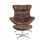Offex Residential Bomber Jacket Leather Cocoon Chair with Ottoman (OF-ZB-43-CCN-G)